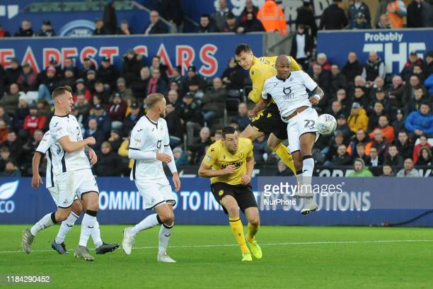 Andre Ayew of Swansea in action during the Sky Bet Championship match between Swansea City and Millwall at the Liberty Stadium Swansea on Saturday...