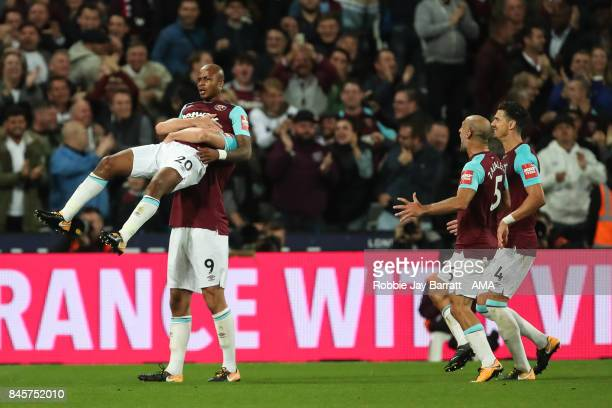 Andre Ayew of West Ham United celebrates after scoring a goal to make it 20 during the Premier League match between West Ham United and Huddersfield...
