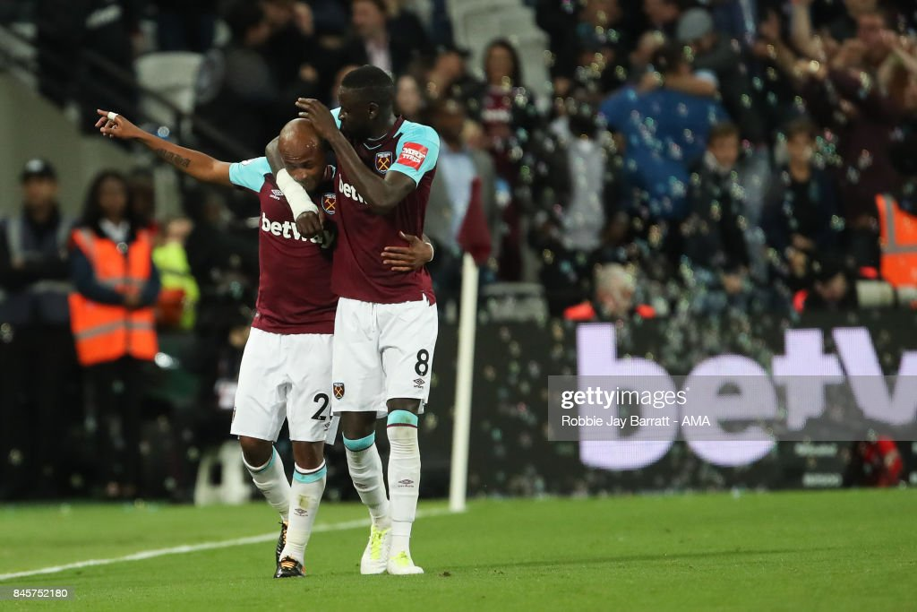 Andre Ayew of West Ham United celebrates after scoring a goal to make it 2-0 during the Premier League match between West Ham United and Huddersfield Town at London Stadium on September 11, 2017 in London, England.