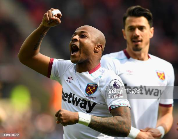 Andre Ayew of West Ham United celebrates scoring his sides first goal during the Premier League match between Sunderland and West Ham United at...