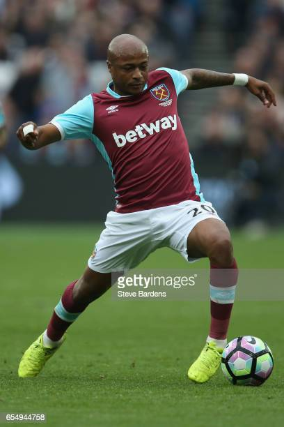 Andre Ayew of West Ham United in action during the Premier League match between West Ham United and Leicester City at London Stadium on March 18 2017...