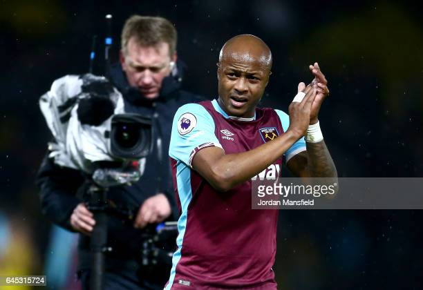 Andre Ayew of West Ham United looks on after the final whistle during the Premier League match between Watford and West Ham United at Vicarage Road...