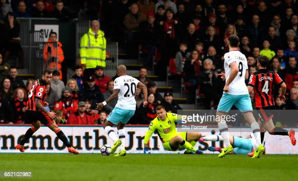 Andre Ayew of West Ham United scores his sides second goal during the Premier League match between AFC Bournemouth and West Ham United at Vitality...