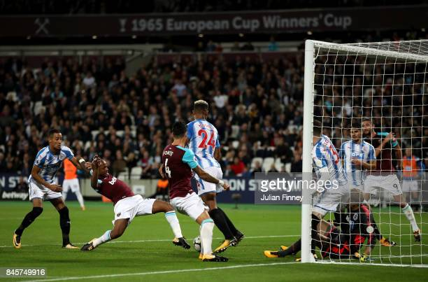 Andre Ayew of West Ham United scores their second goal during the Premier League match between West Ham United and Huddersfield Town at London...