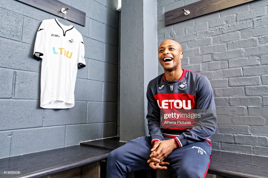 Andre Ayew poses for a portrait as he is unveiled as a new Swansea City signing at The Fairwood Training Ground on February 01, 2018 in Swansea, Wales.