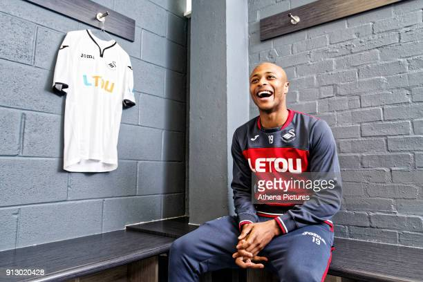 Andre Ayew poses for a portrait as he is unveiled as a new Swansea City signing at The Fairwood Training Ground on February 01 2018 in Swansea Wales
