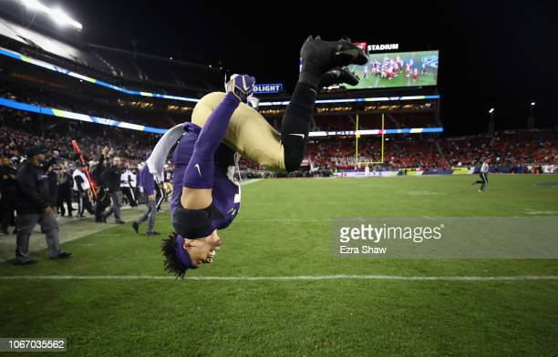 Andre Baccellia of the Washington Huskies celebrates after the Huskies beat the Utah Utes to win the Pac 12 Championship game at Levi's Stadium on...