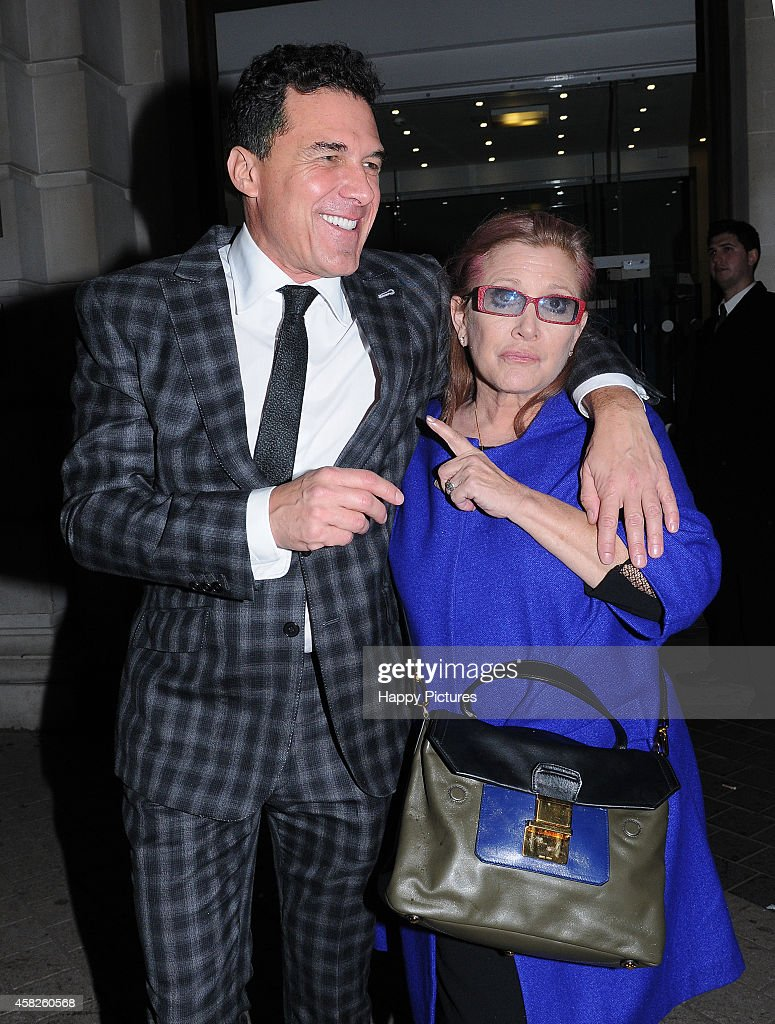 Andre' Balazs and Carrie Fisher seen at the Star Wars wrap party at the Science Museum on November 1, 2014 in London, England.