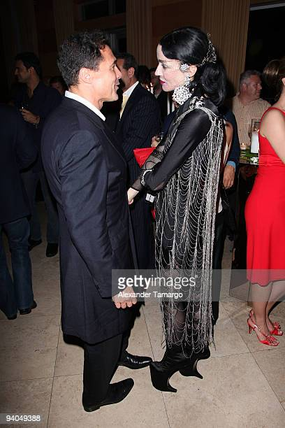"""Andre Balazs and Daphne Guinness attend the Maybach presents David LaChapelle's """"Bliss Amongst Chaos"""" party at the Raleigh Hotel on December 5, 2009..."""