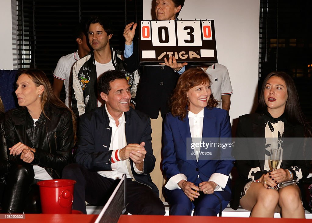 Andre Balazs (2L) and Susan Sarandon (2R) attend SPiN Standard Ping Pong Social Club grand opening hosted by Susan Sarandon and Andre Balazs at The Standard, Downtown LA, on December 11, 2012 in Los Angeles, California.