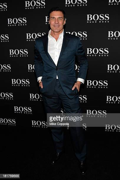 Andre Balazs attends HUGO BOSS celebrates Columbus Circle BOSS flagship opening featuring premiere of 'Anthropocene' by Marco Brambilla on September...