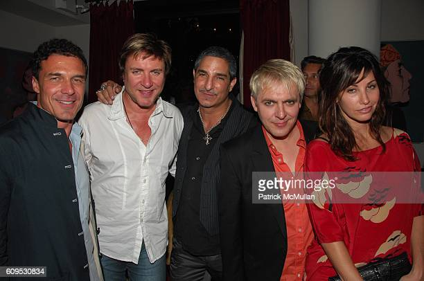 Andre Balazs Simon Le Bon Nur Khan Nick Rhodes and Gina Gershon attend GIANNI AND DONATELLA by SANTE D'ORAZIO cocktail at Gramercy Park Hotel Rooftop...