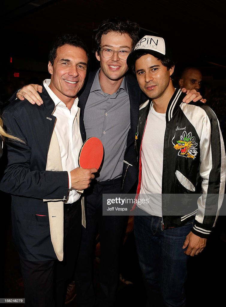 Andre Balazs, SPiN Co-Founders Jonathan Bricklin and Franck Raharinosy attend SPiN Standard Ping Pong Social Club grand opening hosted by Susan Sarandon and Andre Balazs at The Standard, Downtown LA, on December 11, 2012 in Los Angeles, California.