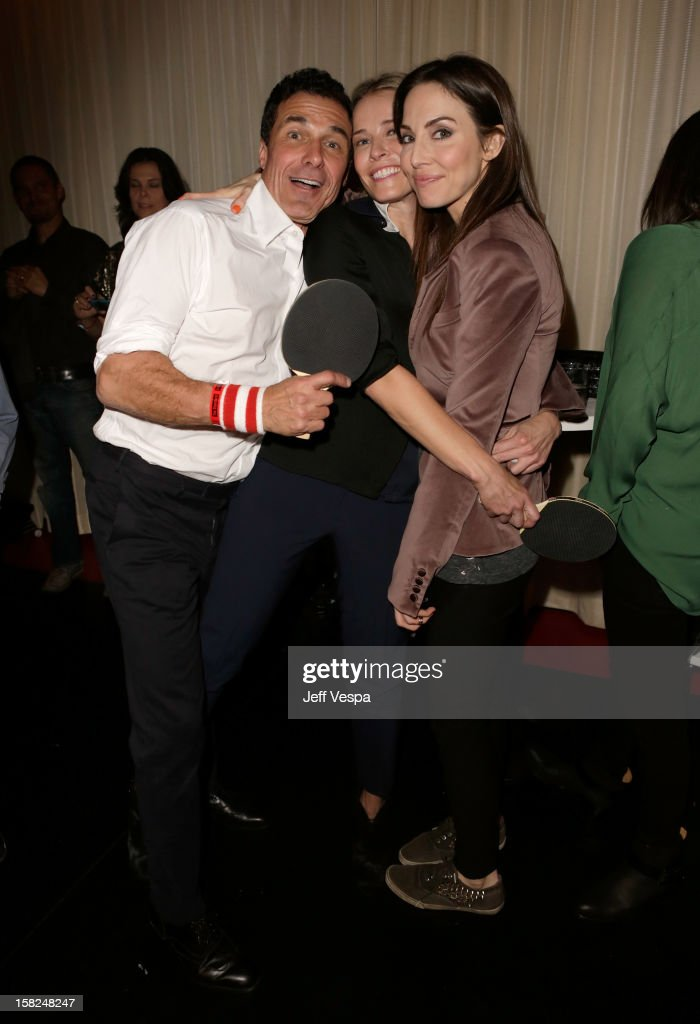 Andre Balazs, TV personality Chelsea Handler and actress Whitney Cummings attend SPiN Standard Ping Pong Social Club grand opening hosted by Susan Sarandon and Andre Balazs at The Standard, Downtown LA, on December 11, 2012 in Los Angeles, California.