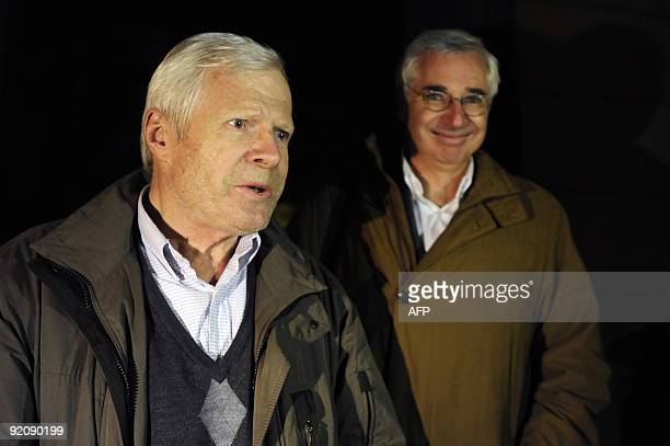 Andre Bamberski father of Kalinka Bamberski who died mysteriously in 1982 and his lawyer Laurent de Caunes leave the Mulhouse court after M Bamberski...