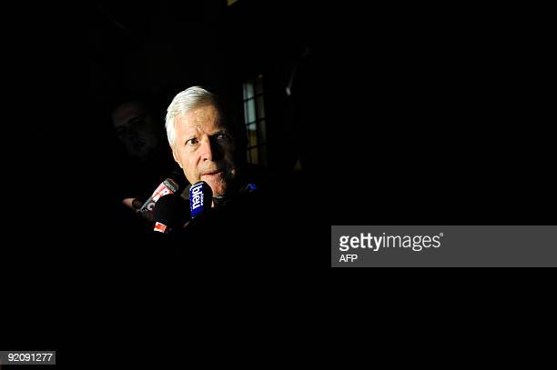 Andre Bamberski father of Kalinka Bamberski who died mysteriously in 1982 and his lawyer answers journalists in front of the Mulhouse court after M...