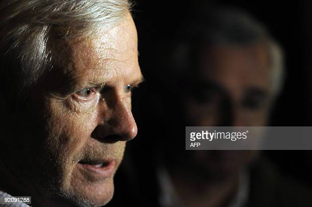 Andre Bamberski father of Kalinka Bamberski who died mysteriously in 1982 and his lawyer Laurent de Caunes answersjournalists in front of the...