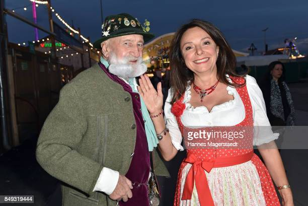 Andre Bandel and Uschi Daemmrich von Luttitz during the BMW Armbrustschiessen as part of the Oktoberfest 2017 at ArmbrustSchuetzenfesthalle on...