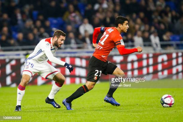 Andre Benjamin of Rennes and Tousart Lucas of Lyon during the Ligue 1 match between Olympique Lyonnais and Stade Rennais on December 5 2018 in Lyon...