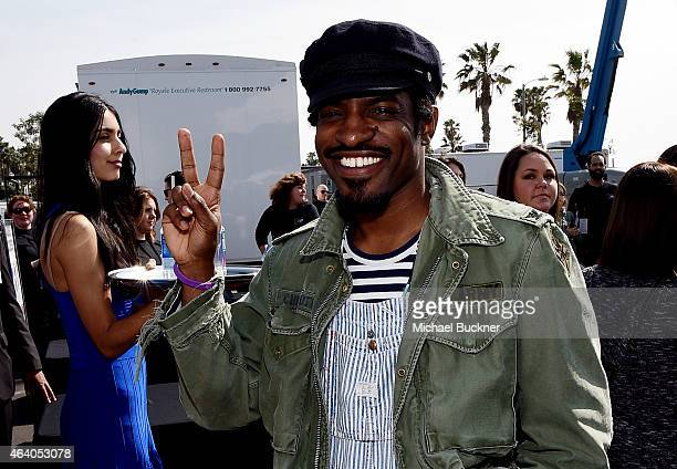 Andre Benjamin poses outside the FIJI Water tent during the 30th Annual Film Independent Spirit Awards at Santa Monica Beach on February 21 2015 in...