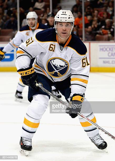 Andre Benoit of the Buffalo Sabres plays in the game against the Anaheim Ducks at Honda Center on October 22 2014 in Anaheim California