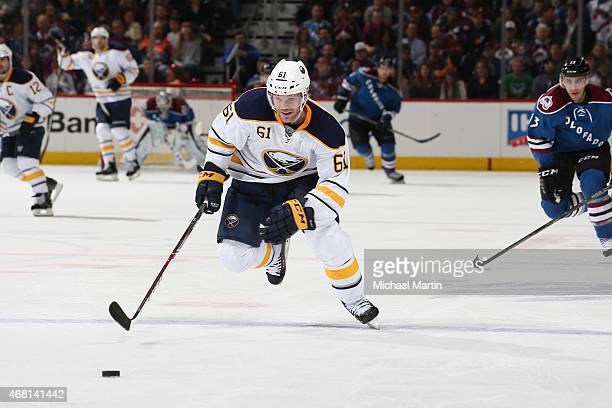Andre Benoit of the Buffalo Sabres skates against the Colorado Avalanche at the Pepsi Center on March 28 2015 in Denver Colorado The Avalanche...