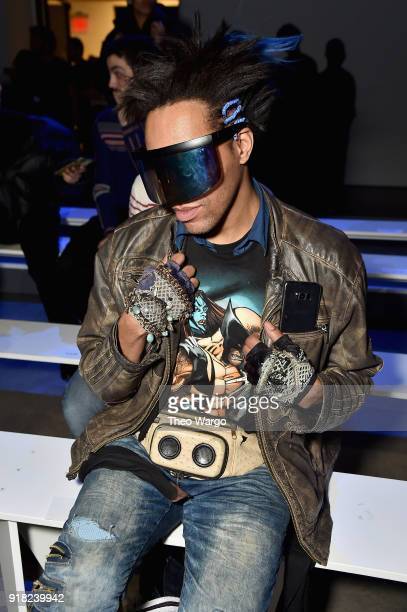 Andre Benton attends the Laquan Smith front row during New York Fashion Week The Shows at Gallery I at Spring Studios on February 14 2018 in New York...