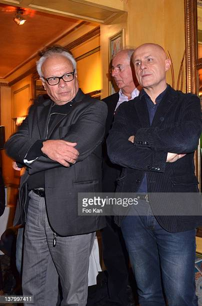 Andre Bercoff Roger Pol Droit and Olivier Poivre d'Arvor attend the Procope Des Lumieres' Literary Awards First Edition at the Procope on January 30...