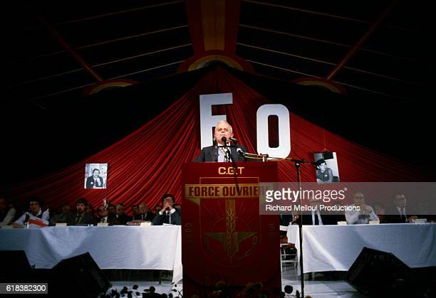 Andre Bergeron secretary general of the French union Force Ouvriere speaks at an FO meeting in Paris France