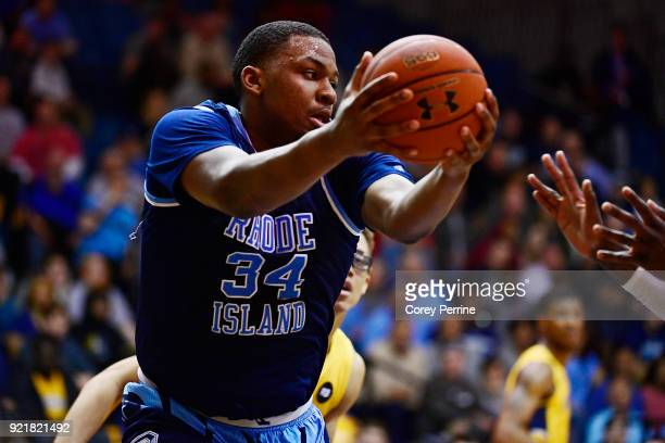 Andre Berry of the Rhode Island Rams fights for the ball against the La Salle Explorers during the second half at Tom Gola Arena on February 20 2018...