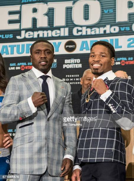 Andre Berto and Shawn Porter pose during the Porter vs Berto Welterweight fight final press conference at the Marriot Hotel April 20 2017 in Brooklyn...
