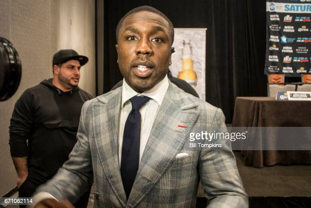 Andre Berto at the Porter vs Berto Welterweight fight final press conference at the Marriot Hotel April 20 2017 in Brooklyn in New York City