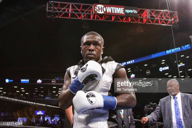 Andre Berto enters the ring against Shawn Porter and eventually loses by TKO in the 9th round of their WBC welterweight title eliminator at the...