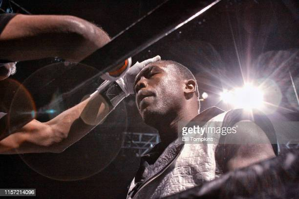 Andre Berto in his corner during his fight against Shawn Porter in which he lost by TKO in the 9th round of their WBC welterweight title eliminator...