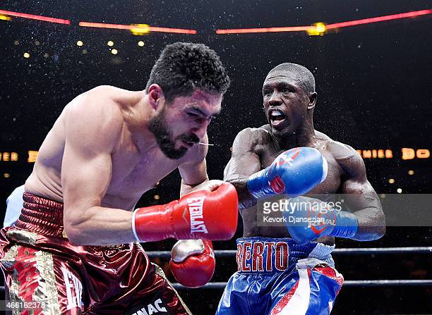 Andre Berto lands a punch against Josesito Lopez during their 12 round welterweight bout at Citizens Business Bank Arena March 13 2015 in Ontario...