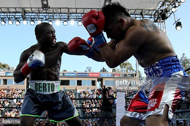 Andre Berto punches Victor Ortiz during a welterweight fight at StubHub Center on April 30 2016 in Carson California Andre Berto defeated Victor...
