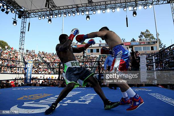 Andre Berto punches Victor Ortiz knocking him backwards during a welterweight fight at StubHub Center on April 30 2016 in Carson California