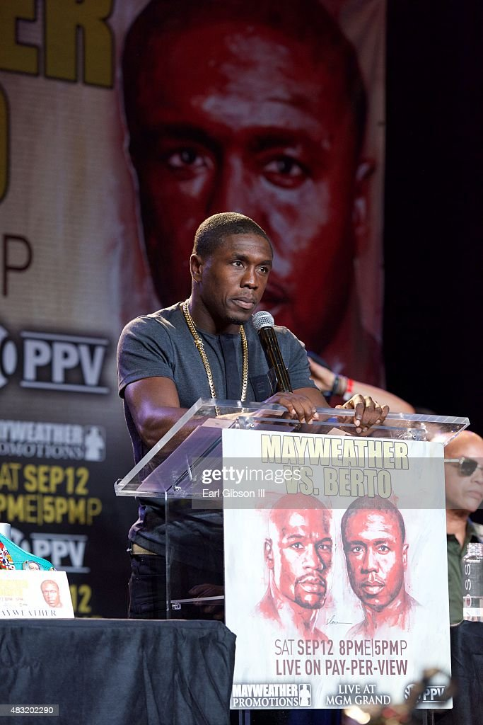 Andre Berto speaks at the Los Angeles press conference announcing his upcoming fight with Floyd Mayweather Jr. at JW Marriott Los Angeles at L.A. LIVE on August 6, 2015 in Los Angeles, California.