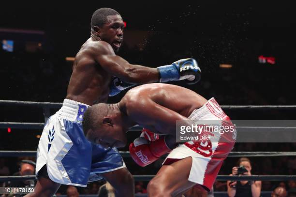 Andre Berto throws a right hand against Devon Alexander Berto would win by split decision at the Nassau Veterans Memorial Coliseum on August 4 2018...