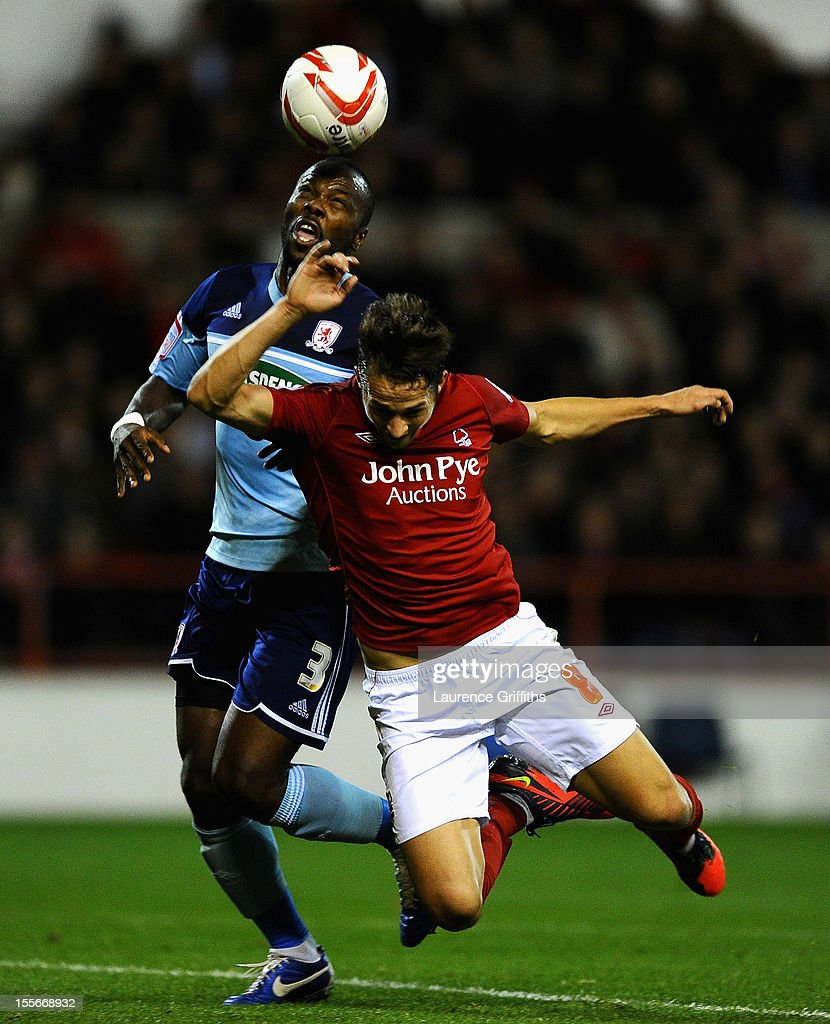 Andre Bikey of Middlesbrough battles with Chris Cohen of Nottingham Forest during the npower Championship match between Nottingham Forest and Middlesbrough at the City Ground on November 6, 2012 in Nottingham, England.