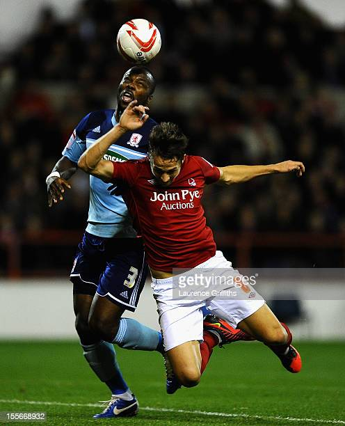 Andre Bikey of Middlesbrough battles with Chris Cohen of Nottingham Forest during the npower Championship match between Nottingham Forest and...