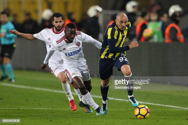 Andre Biyogo Poko of Karabukspor Aatif Chahechouhe of Fenerbahce during the Turkish Super lig match between Fenerbahce v Karabukspor at the Sukru...
