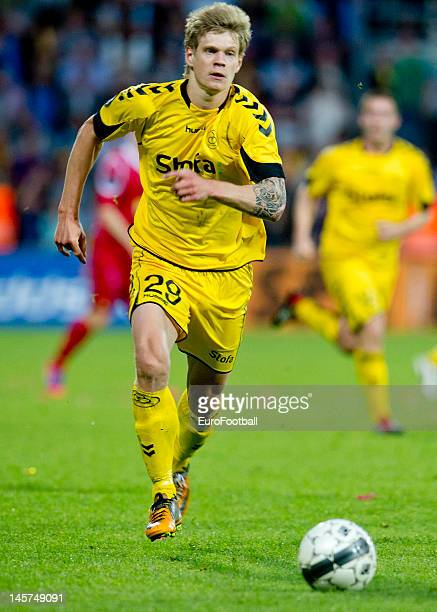 Andre Bjerregaard of AC Horsens in action during the Danish Superliga match between FC Nordsjaelland and AC Horsens held on May 23 2012 at Farum Park...
