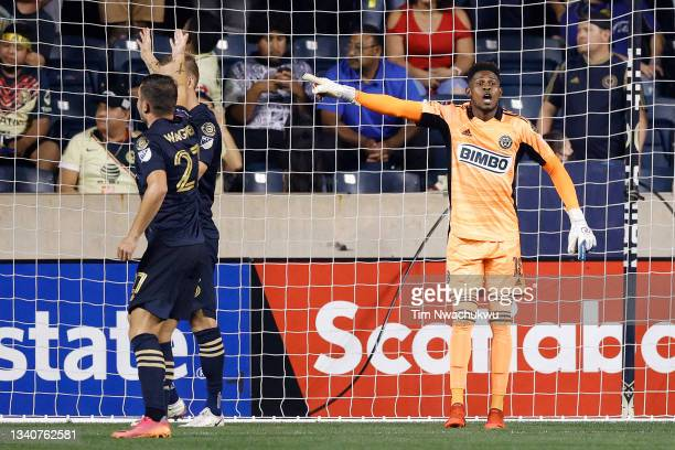 Andre Blake of Philadelphia Union directs teammates during the semifinal second leg match against Club America during the CONCACAF Champions League...