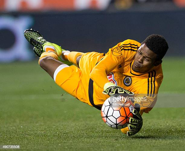 Andre Blake of the Philadelphia Union makes a diving save in the first half of the 2015 US Open Cup Final against Sporting Kansas City on September...