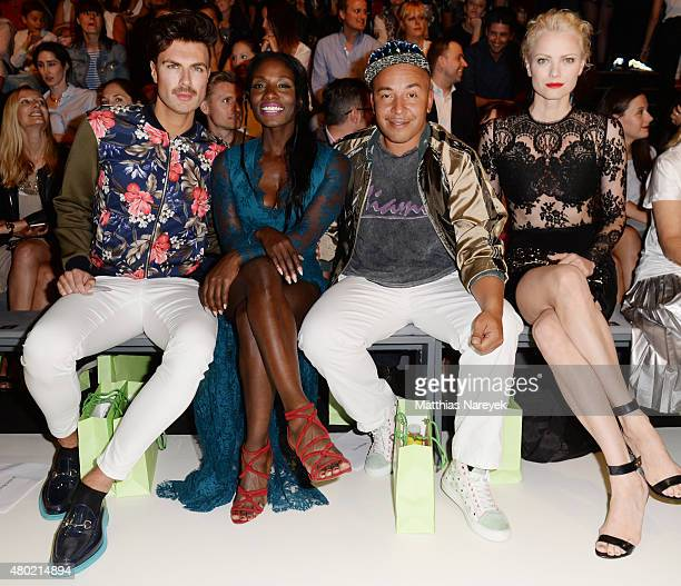 Andre Borchers Nikeata Thompson Lou Bega and Franziska Knuppe attend the Ewa Herzog show during the MercedesBenz Fashion Week Berlin Spring/Summer...