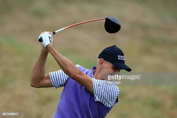 Andre Bossert of Switzerland in action during the final round of the Paris Legends Championship played on L'Albatros Course at Le Golf National on...