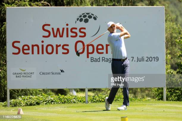 Andre Bossert of Switzerland in action during the first round of the Swiss Seniors Open played at Golf Club Bad Ragaz on July 05, 2019 in Bad Ragaz,...