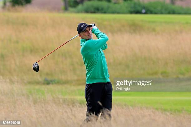Andre Bossert of Switzerland in action during the second round of the Scottish Senior Open at The Renaissance Club on August 5 2017 in North Berwick...