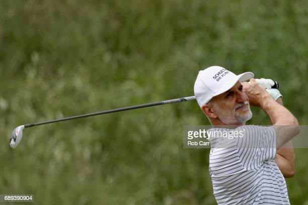 Andre Bossert tees off on the second hole during the final round of the Senior PGA Championship at Trump National Golf Club on May 28 2017 in...